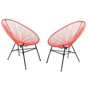 FAUTEUIL JARDIN  Lot 2 fauteuils MANILLE Corail - 83 x 73 x 91 cm