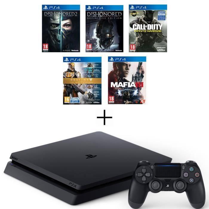 CONSOLE PS4 Nouvelle PS4 Slim Noire 500 Go + 5 Jeux : Call of
