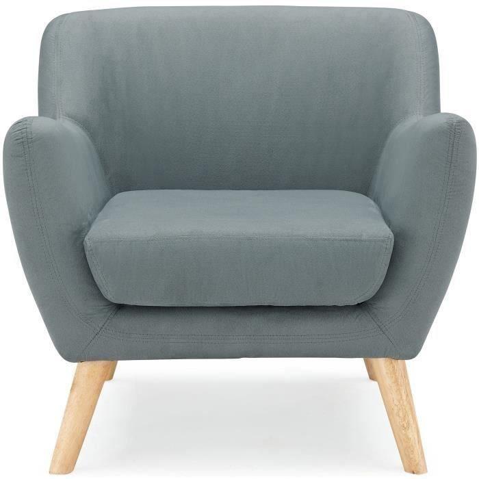 NORWAY Fauteuil Design Scandinave Tissu Gris Achat Vente - Fauteuil design scandinave