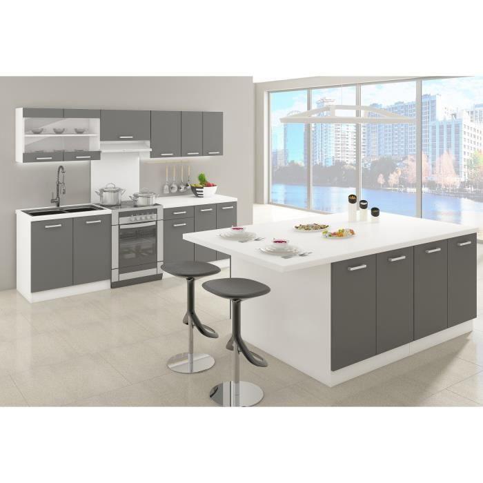 ultra ilot de cuisine l 200 cm avec plan de travail gris mat achat vente ilot central. Black Bedroom Furniture Sets. Home Design Ideas