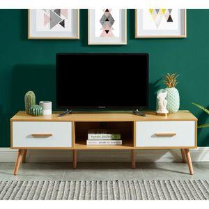 MEUBLE TV JESTA Meuble TV décor chêne et blanc + pieds en bo
