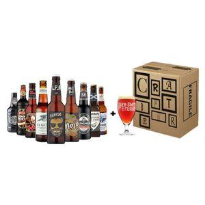 BIÈRE Box UK 9 bouteilles de bières 33 cl + 1 verre