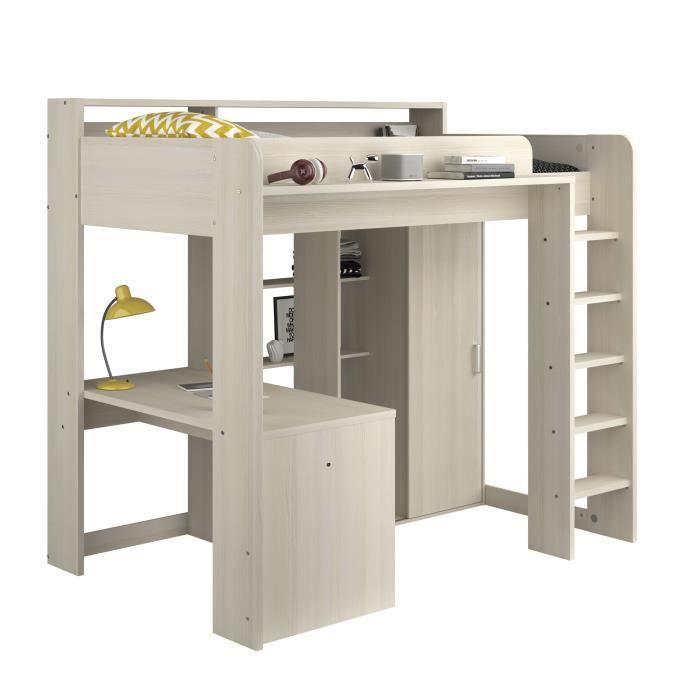 lit mezzanine avec bureau et rangement achat vente pas cher. Black Bedroom Furniture Sets. Home Design Ideas
