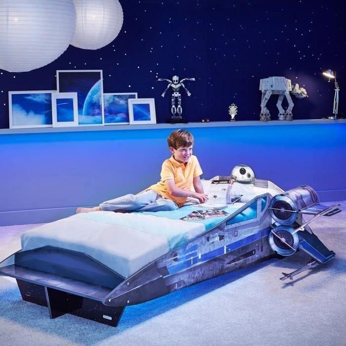 star wars lit enfant en bois vaisseau x wing et bb-8 190cm x 70cm
