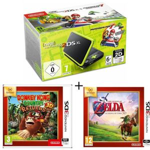CONSOLE NEW 2DS XL New 2DS XL Noir/Citron Vert + Donkey Kong Country