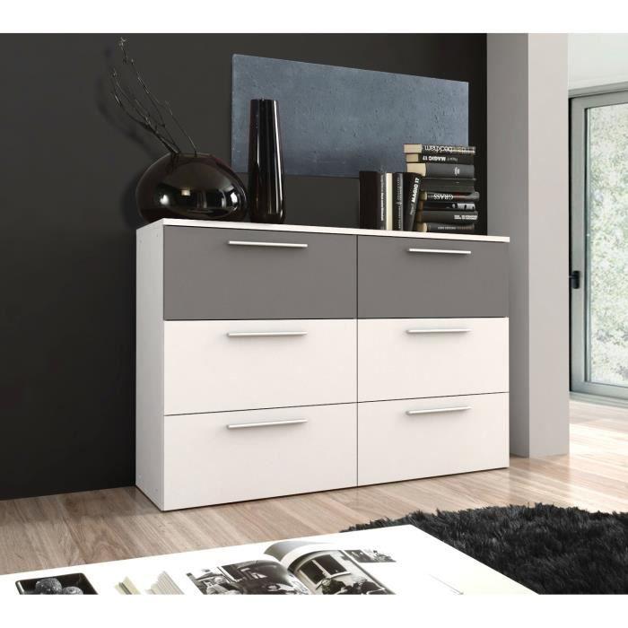 lou commode 6 tiroirs blanc et gris 150x 100 cm achat vente commode de chambre lou commode. Black Bedroom Furniture Sets. Home Design Ideas