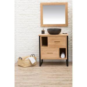 loft ensemble salle de bain simple vasque en bois et placage teck massif pieds m tal l 80 cm. Black Bedroom Furniture Sets. Home Design Ideas
