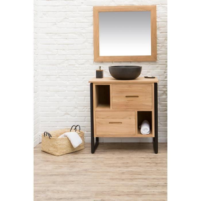 Meuble salle de bain bois naturel - Achat / Vente pas cher