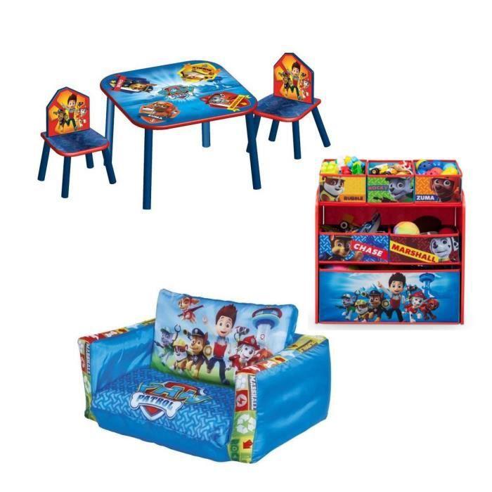 PAT PATROUILLE Pack Chambre Enfant Avec Meuble De Rangement Table - Canapé 3 places pour objet deco chambre bebe