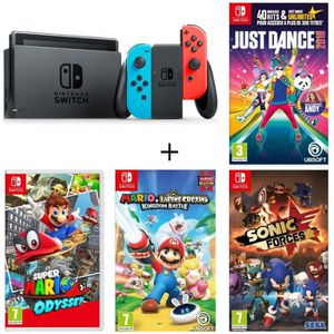 CONSOLE NINTENDO SWITCH Pack Nintendo Switch Néon + 4 jeux Switch : Super