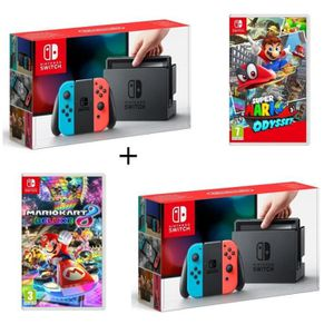 CONSOLE NINTENDO SWITCH Pack 2 Nintendo Switchs Néons + Super Mario Odysse