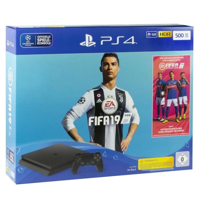CONSOLE PS4 NOUVEAUTÉ Pack PS4 500 Go Noire + FIFA 19