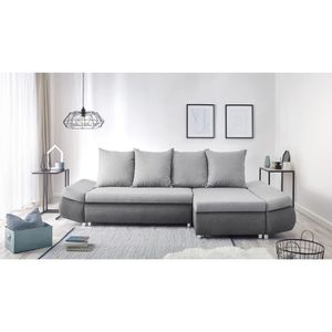 Oliver Canape D Angle Reversible Convertible 4 Places Tissu Gris