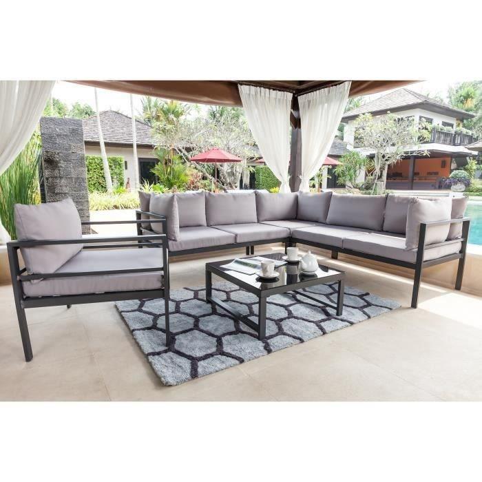 BEAU RIVAGE Salon de jardin-table basse avec canapé d\'angle et 2 ...