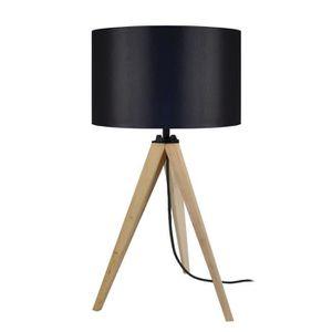 LAMPE A POSER IDUN Lampe à poser trépied en bois naturel avec ab