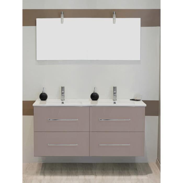 shiloh salle de bain compl te double vasque avec miroir laqu taupe achat vente salle de. Black Bedroom Furniture Sets. Home Design Ideas