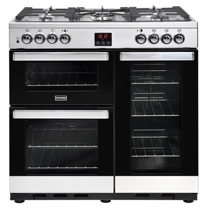 San Francisco 41063 8316f STOVES PCITY90DFTSS-Cuisinière table de cuisson gaz-5 foyers-Four  électrique 3 cavités-35L-62L-91L-A-L90 x H92,2 cm-Inox et noir