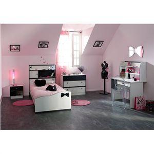 CHAMBRE COMPLÈTE  PRETTY Chambre complète enfant 90x190 Blanc/Noir