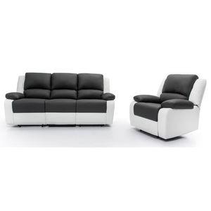 Canape Cuir Places Et Fauteuil Achat Vente Pas Cher - Canapé cuir 3 places fauteuil