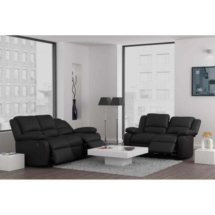 RELAX Ensemble Canapés De Relaxation Droits En Cuir Et Simili - Canapé 3 places pour decoration salon cuir noir