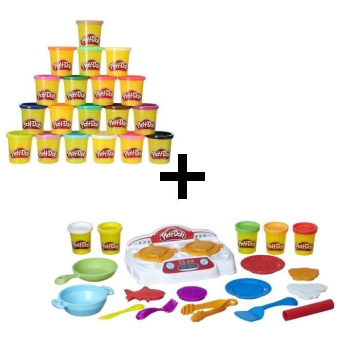 PLAY-DOH - La Cuisinière + Super Pack Coloré 20 Pots - Achat ...