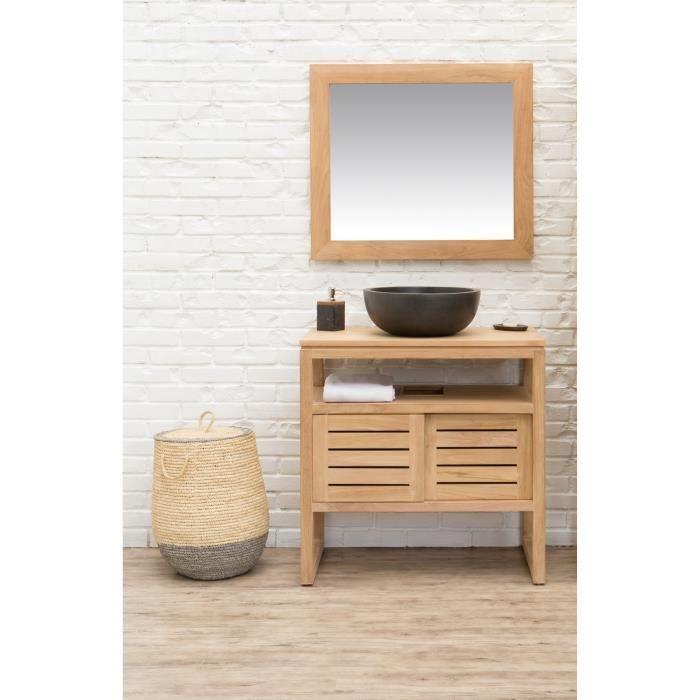 OAHU Ensemble salle de bain en bois teck massif simple vasque avec ...