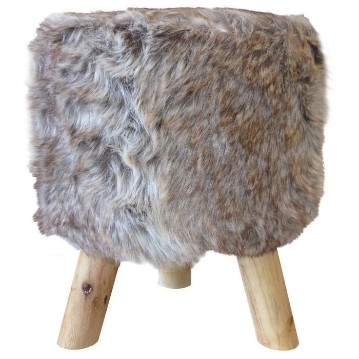 pouf rond en fausse fourrure et pieds en pin chic 32 h38 cm brun et marron achat vente pouf. Black Bedroom Furniture Sets. Home Design Ideas