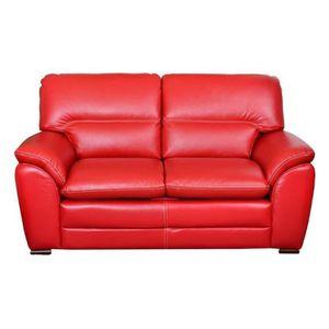 canap sofa divan florence canap droit fixe 2 places cuir rouge - Cherche Canape A Donner