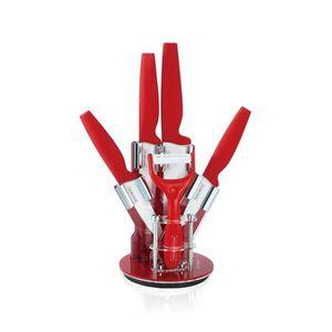 COUTEAU DE CUISINE  Royalty Line Set de 4 couteaux Céramique rouge ave