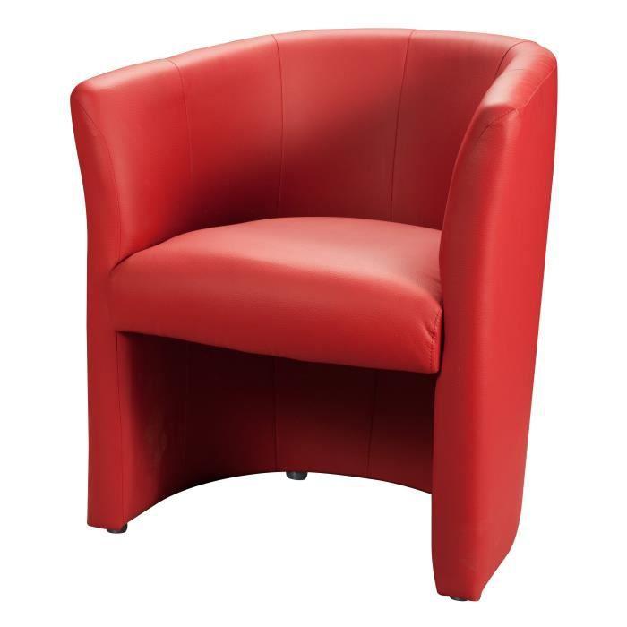 baya fauteuil cabriolet simili rouge l 65 x p 57 cm achat vente fauteuil structure en. Black Bedroom Furniture Sets. Home Design Ideas