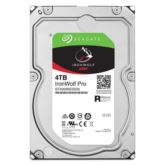 DISQUE DUR INTERNE SEAGATE Ironwolf PRO NAS HDD - 4 To - SATA (ST4000