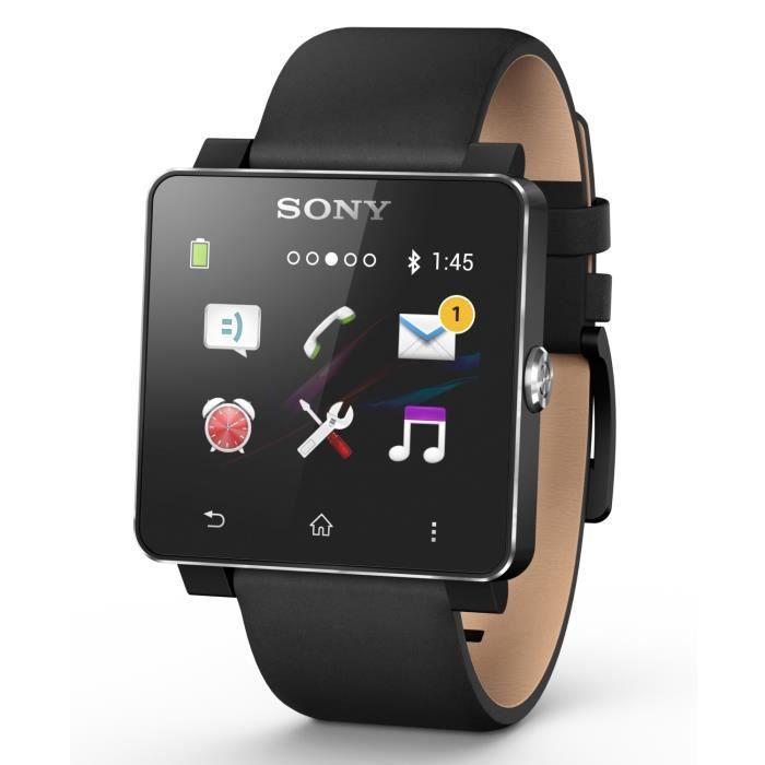 sony smartwatch 2 montre connect e bracelet cuir noir achat montre connect e pas cher avis et. Black Bedroom Furniture Sets. Home Design Ideas