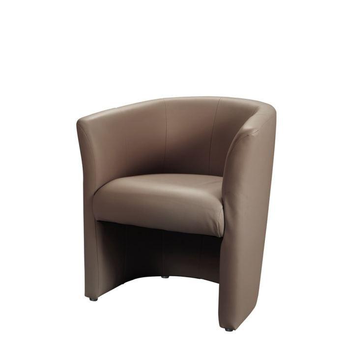 BAYA Fauteuil cabriolet en simili Taupe Achat Vente fauteuil