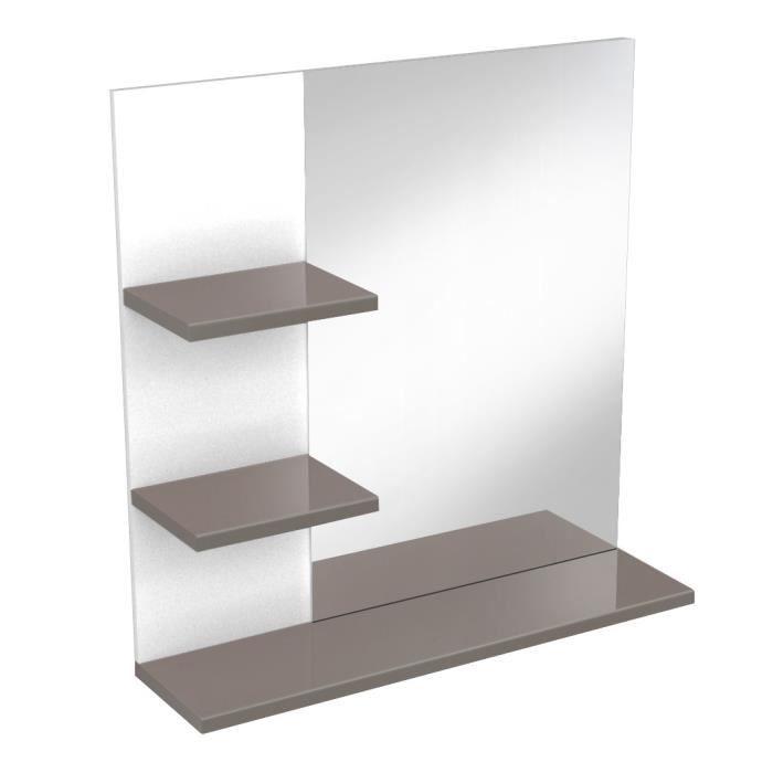 CORAIL Miroir de salle de bain 60 cm - Taupe Haute Brillance - Achat ...