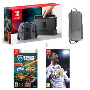 CONSOLE NINTENDO SWITCH Pack Nintendo Switch Grise + Fifa 18 + Rocket Leag