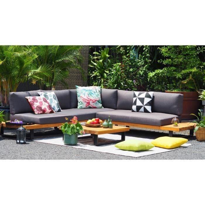 ALUXE Salon de jardin en bois d\'acacia et pieds en aluminium, canapé  d\'angle et une table basse