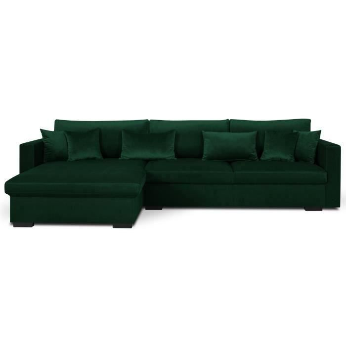 malma canap d 39 angle r versible 5 places velours vert. Black Bedroom Furniture Sets. Home Design Ideas