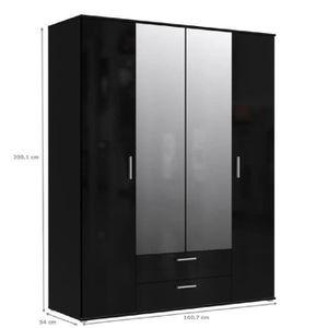 Armoire de chambre noire laquee - Achat / Vente pas cher