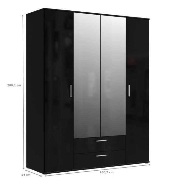 armoire chambre noir laque achat vente armoire chambre noir laque pas cher cdiscount. Black Bedroom Furniture Sets. Home Design Ideas