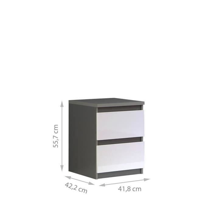 FINLANDEK Chevet NATTI contemporain gris mat et blanc brillant- L 42 ...