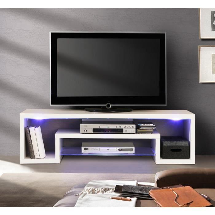 cara meuble tv avec clairage led 137cm blanc brillant et blanc mat achat vente meuble tv. Black Bedroom Furniture Sets. Home Design Ideas