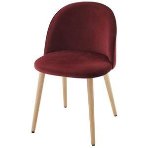 CHAISE MACARON chaise de salle à manger - Velours bordeau