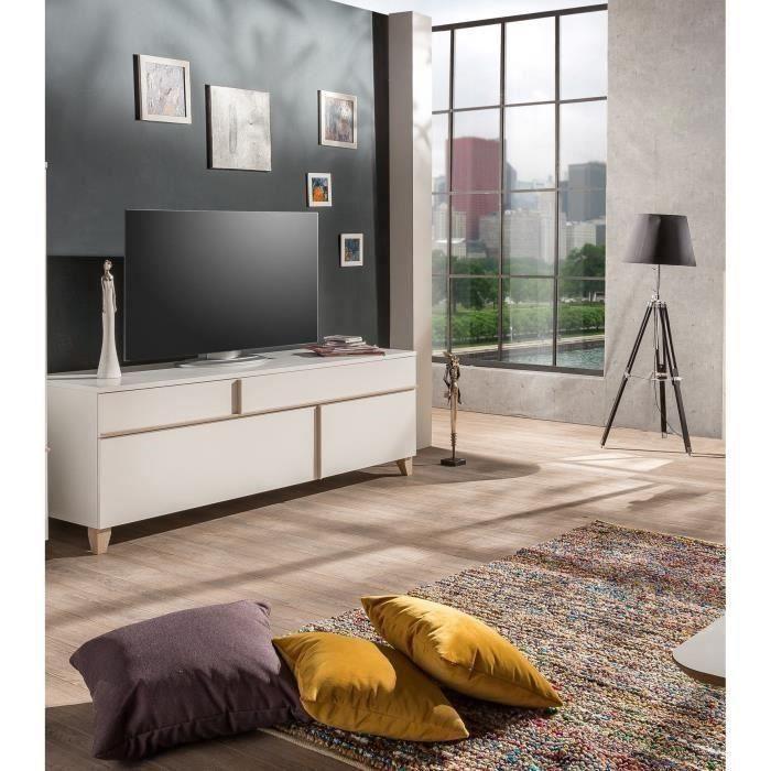 PABLO Meuble TV contemporain mélaminé blanc et décor sonoma - L 160 ...