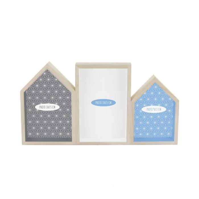 cadre photo p le m le d co 31 8x3x16 5 cm bleu achat vente p le m le photo bois cdiscount. Black Bedroom Furniture Sets. Home Design Ideas