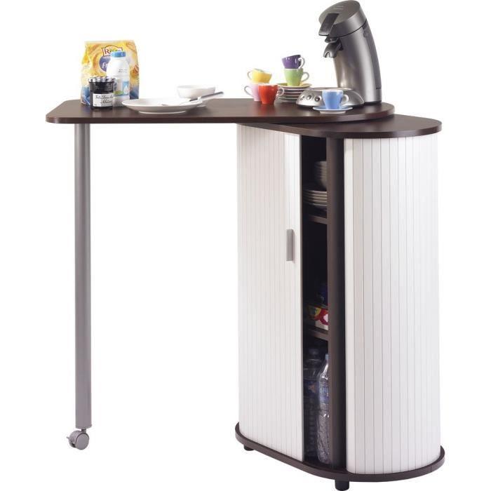 Table de cuisine et rangement weng blanc achat for Table bar de cuisine avec rangement