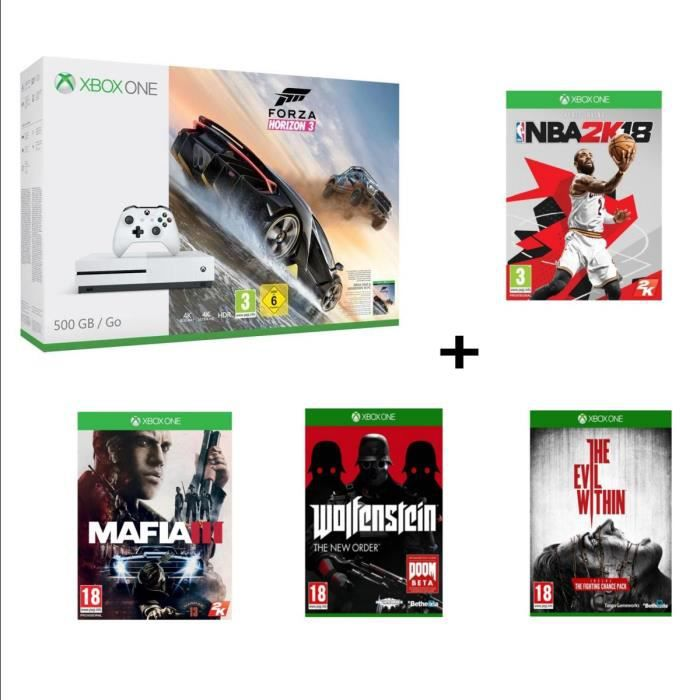 CONSOLE XBOX ONE Pack Xbox One S 500 Go FH3 + NBA 2k18 + 3 jeux