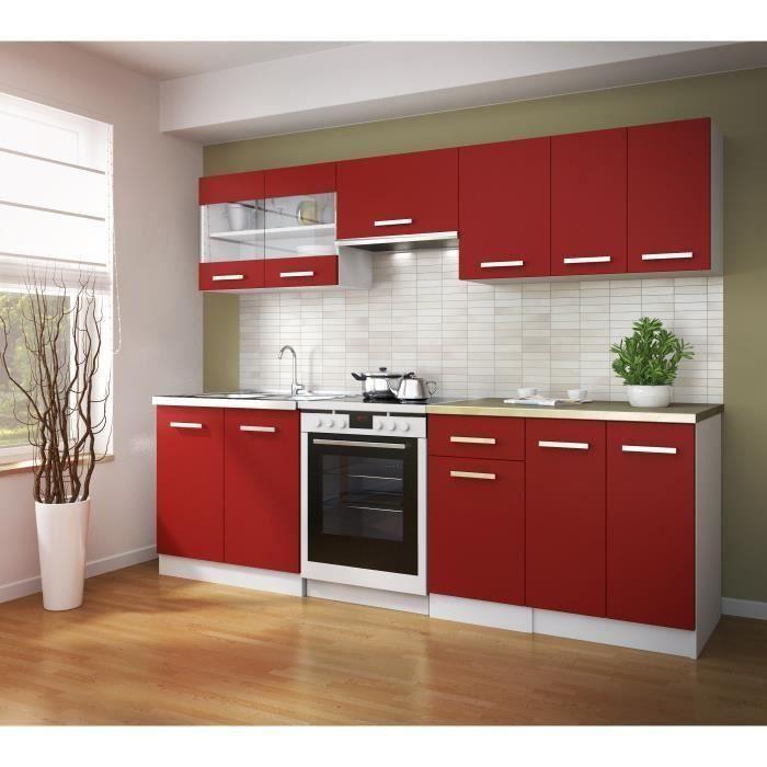 ultra cuisine quip e 2m40 avec cuisini re vitro indesit four lectrique et hotte rouge mat. Black Bedroom Furniture Sets. Home Design Ideas