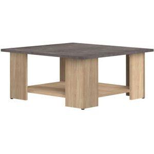 TABLE BASSE Table basse LIME - Décor chêne et béton - 67x67 cm