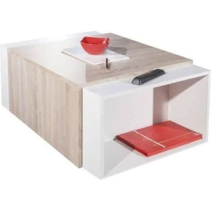 charly table basse transformable style contemporain blanc. Black Bedroom Furniture Sets. Home Design Ideas