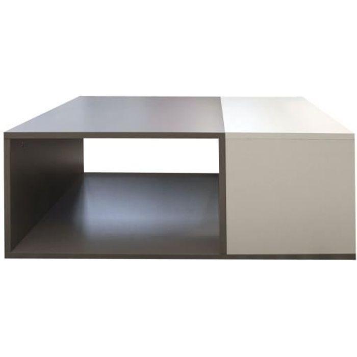 mega table basse style contemporain mélaminée gris et blanc - l 89